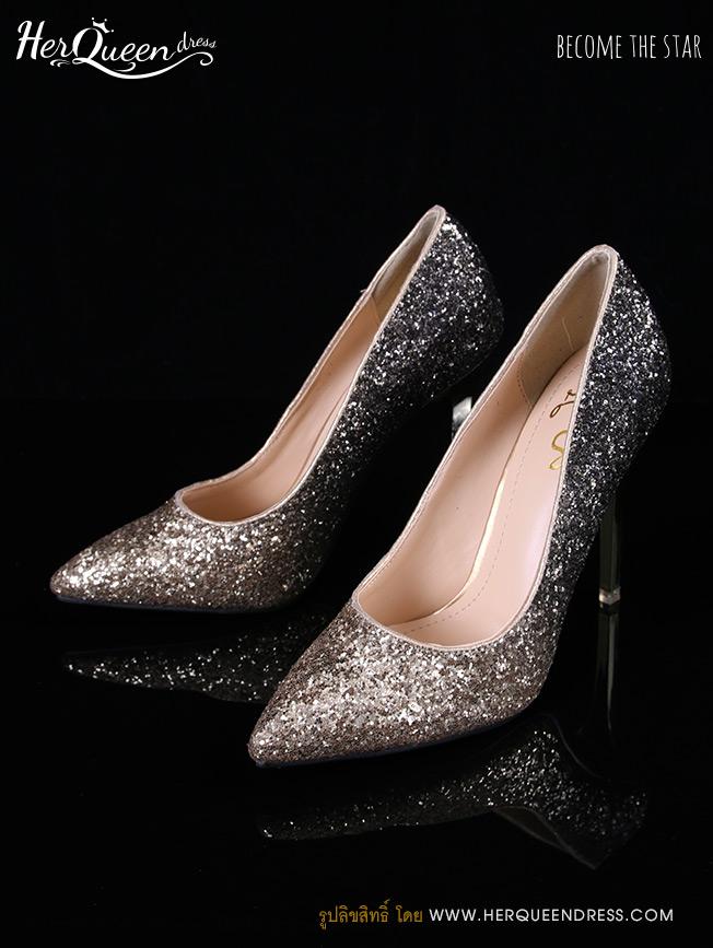 เช่ารองเท้า &#x2665 รองเท้าส้นสูง 4 นิ้ว เกล็ดทองไล่โทนดำ หรู