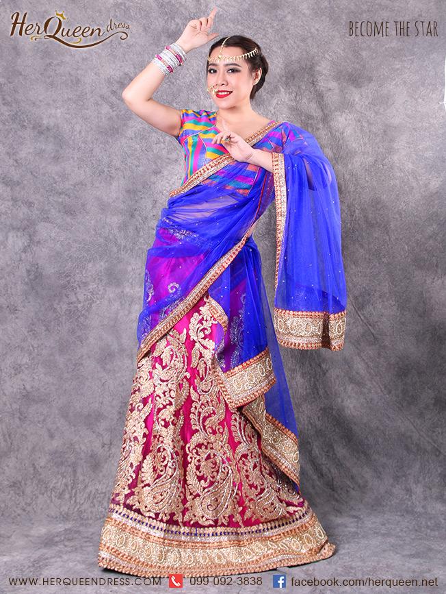เช่าชุดแฟนซี &#x2665 ชุดแฟนซี ชุดอินเดีย ชุดแขก ส่าหรี 3 ชิ้น เซ็ทกระโปรงชมพู ผ้าคลุมน้ำเงิน