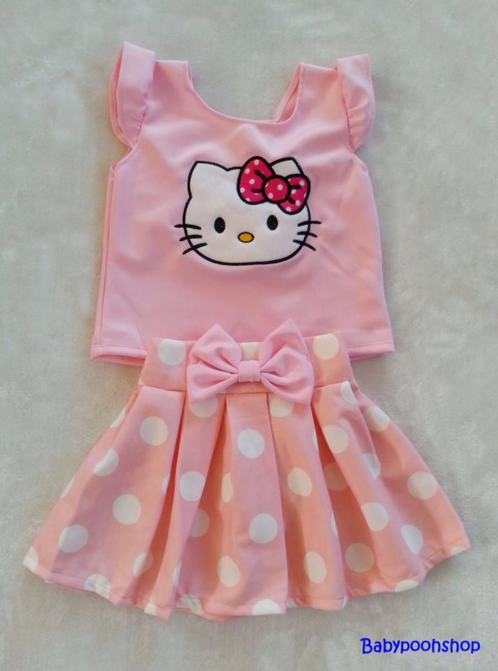 Ploy : Set เสื้อ+กระโปรง ปักลายคิตตี้ สีชมพูอ่อน Size : XL (8-9y)
