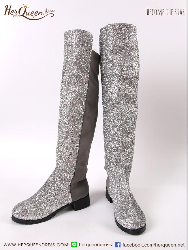 เช่ารองเท้า &#x2665 รองเท้าบู๊ทหนังสีดำ สูงเหนือเข่า รุ่นเกล็ด - สีเงิน