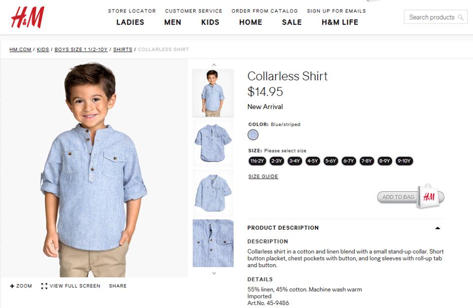 Collarless Shirt H&M size 7-8y / 8-9y