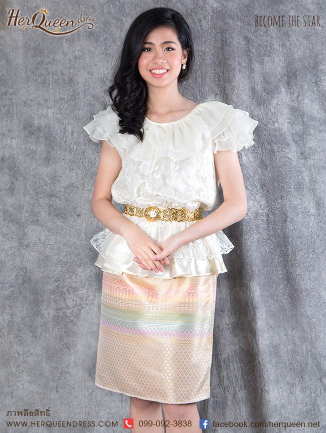 เช่าชุดไทย&#x2665 ชุดไทย ร.7 เสื้อลูกไม้สีครีม ผ้าถุงสั้นสีนู๊ดแถบสี