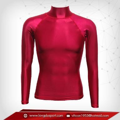 Body Fit / Base Layer เสื้อรัดรูป คอตั้ง แขนยาว สีแดงเลือดนก