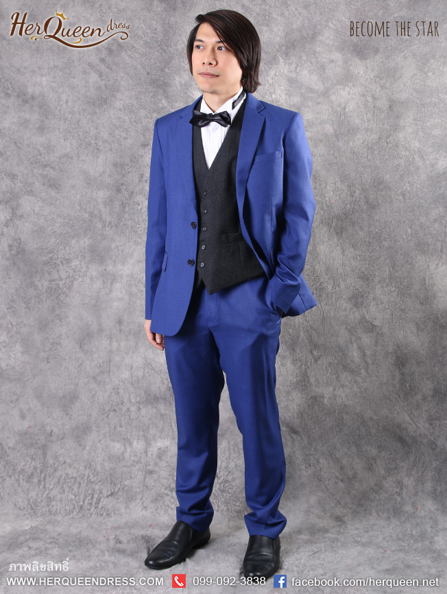 ชุดออกงานผู้ชาย &#x2666 ชุดสูท สีน้ำเงินสด