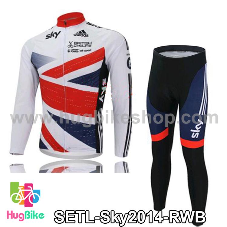 ชุดจักรยานแขนยาวทีม Sky 14 สีธงชาติอังกฤษ สั่งจอง (Pre-order)