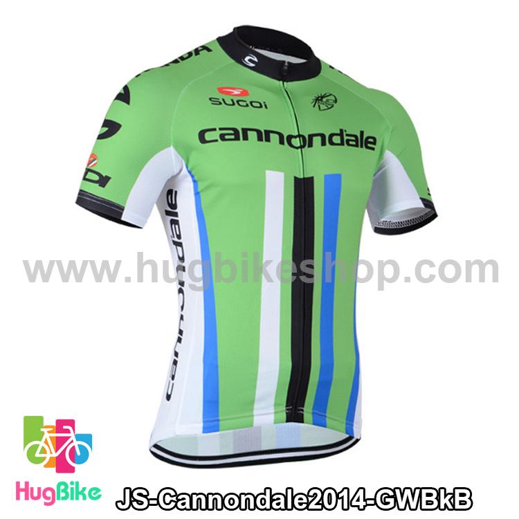 เสื้อจักรยานแขนสั้นทีม Cannondale 2014 เขียวขาวดำฟ้า สั่งจอง (Pre-order)