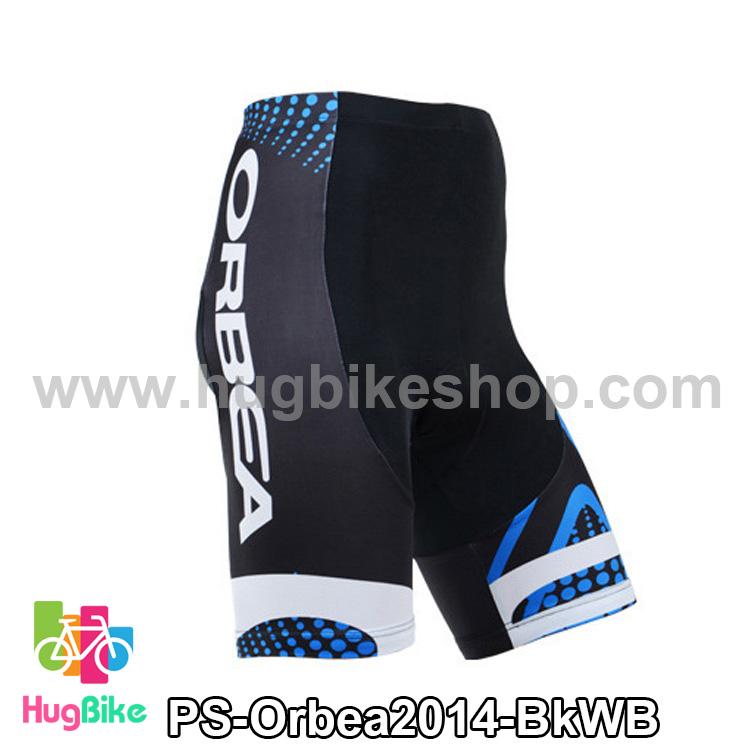 กางเกงจักรยานขาสั้นทีม Orbea 14 สีดำขาวน้ำเงิน สั่งจอง (Pre-order)