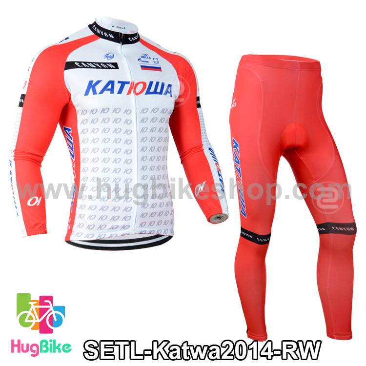 ชุดจักรยานแขนยาวทีม Katwa 14 (01) สีแดงขาว สั่งจอง (Pre-order)