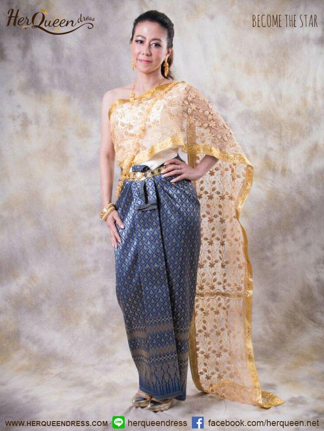 เช่าชุดไทย &#x2665 ชุดไทย แยกชิ้น สไบเฉียงแถบทอง ผ้าซิ่นหน้านางสีม่วงเหลือบ