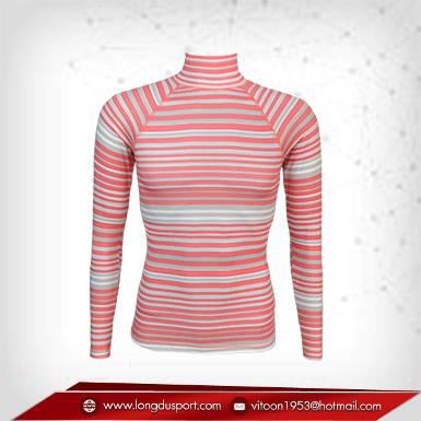 Body Fit / Base Layer เสื้อรัดรูป คอตั้ง แขนยาว สีชมพู - ลายเทา