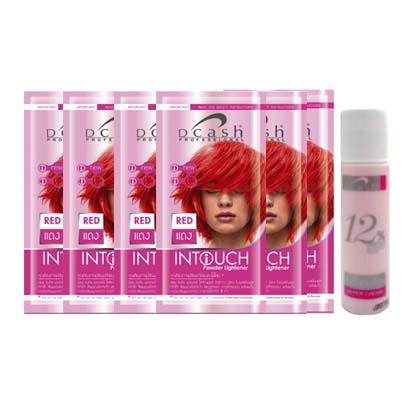 ผงฟอกสีผม ดีแคช อินทัชเพาเดอร์ Intouch Bleaching Powder สีแดง 15 g.x24 ซอง(แบบกล่อง) + ครีมผสมครีมย้อมผม ไฮเปอร์ครีม 12% 50 ml.