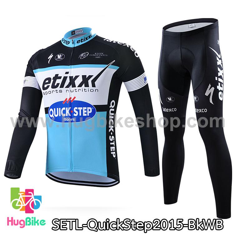 ชุดจักรยานแขนยาวทีม Quick Step 15 สีดำขาวฟ้า