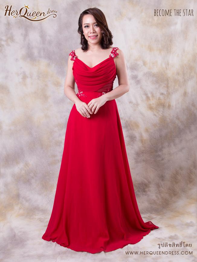 เช่าชุดราตรี &#x2665 ชุดราตรียาว ผ้าชีฟอง พองอก หลังซีทรู - สีแดง