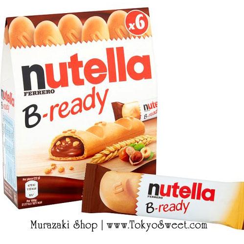 พร้อมส่ง [สินค้านำเข้าจากฝรั่งเศส] ** Ferrero Nutella B-ready เวเฟอร์อบกรอบรูปขนมปังฝรั่งเศสสอดไส้นูเทลล่า บรรจุ 6 ชิ้น