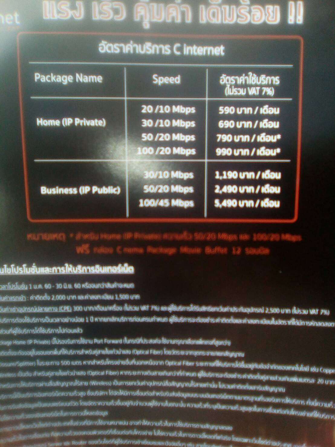 C internet Package Name Speed 20/10 Mbps