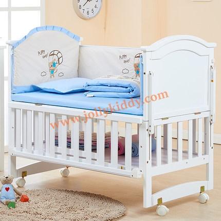 B10141 เตียงนอนเด็กไม้สีขาว (WW1) รุ่นอเนกประสงค์ปรับใช้ได้หลายฟังชันส์