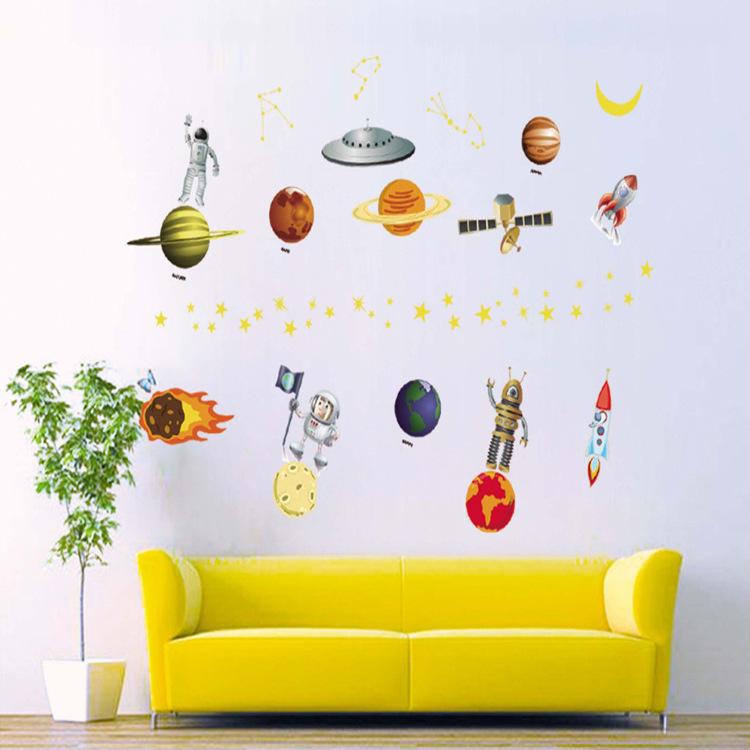 "Wall Sticker สติ๊กเกอร์ติดผนังตกแต่งห้องเด็ก ""โลกอวกาศ"" ความสูง 90 cm กว้าง 130 cm"