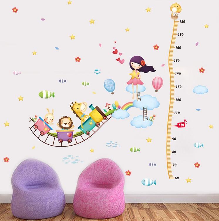 """สติ๊กเกอร์ติดผนังที่วัดส่วนสูงสำหรับเด็ก """"Cute Train"""" สเกลเริ่มต้น 60cm ความยาว 180 cm"""