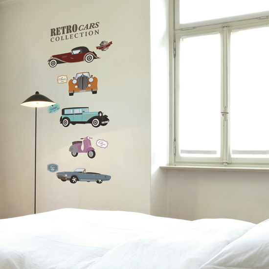 """สติ๊กเกอร์ติดผนัง กราฟฟิค """"Retro Cars Collection"""" ความสูง 56 cm ความกว้าง 100 cm"""