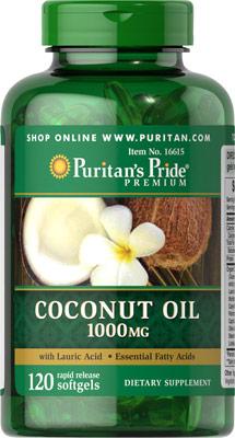 น้ำมันมะพร้าว เร่งการเผาผลาญ ต้านอนุมูลอิสระ Puritan's Pride Coconut Oil 1000 mg ขนาด 120 Softgels