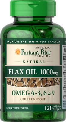 ป้องกันโรคหัวใจ การไหลเวียนโลหิต Puritan 'sPride Flax Oil 1000 mg / 120 เม็ด