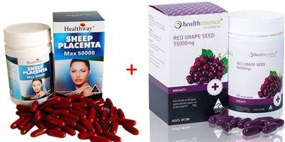รกแกะ healthway 50,000mg.+Healthessence Red Grape Seed 55,000 mg ขนาด 100 เม็ด เมล็ดองุ่นแดงผิวขาวออร่าเข้มข้นสุด เมล็ดองุ่นเข้มข้นสุดส่งตรงจากโรงงานออสเตรเลีย