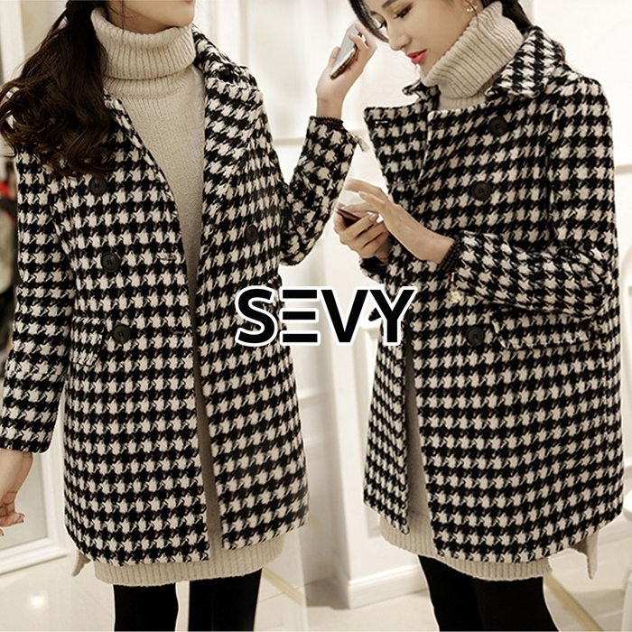 fad468499c67 Sevy Korea Houndstooth Woolen Coat - te amo shop : Inspired by ...