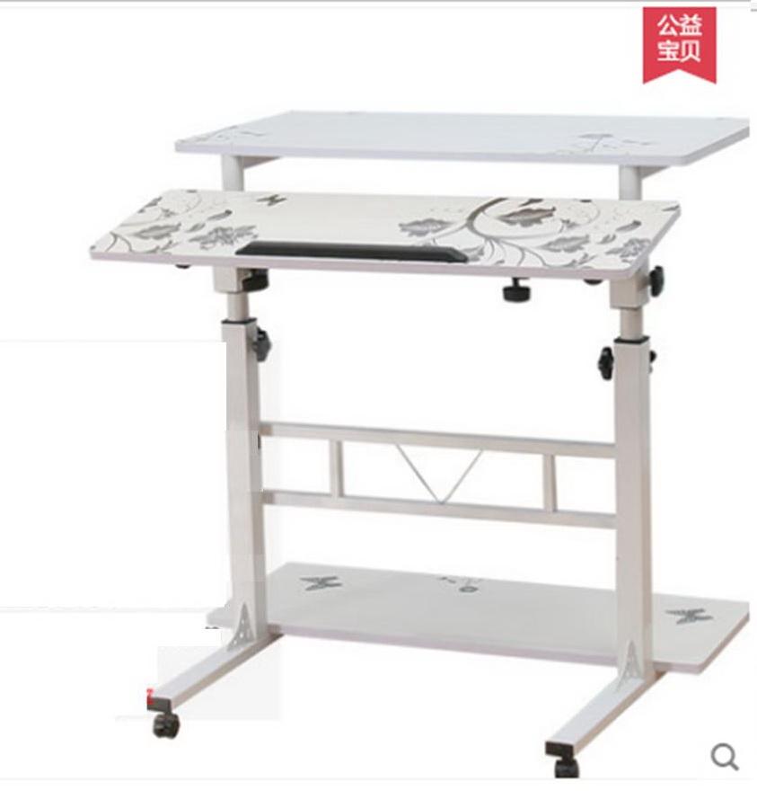 Pre-order โต๊ะทำงานปรับระดับ โต๊ะคอมพิวเตอร์ปรับระดับ โต๊ะพรีเซนต์งาน โต๊ะยืนทำงาน สีขาวพิมพ์ลาย