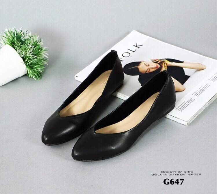 รองเท้าคัทชูส้นแบน Style Zara (สีดำ)