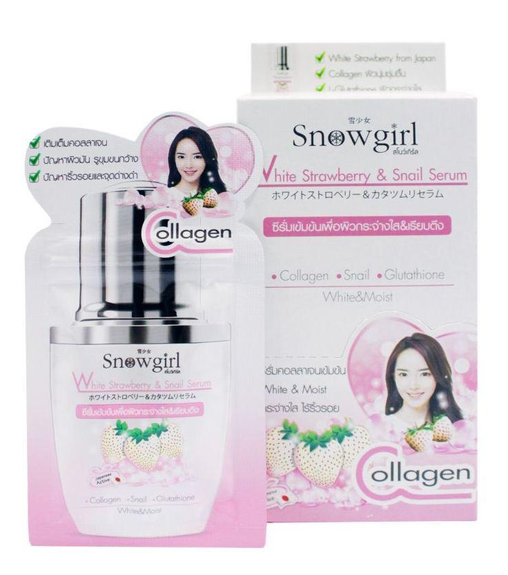 Snow Girl White Strawberry & Snail Serum เซรั่มสตอเบอร์รี่ขาว 1 กล่อง 6 ซอง