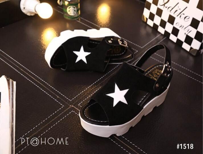 รองเท้าส้นเตารีดสไตล์แฟชั่นเกาหลีลายดาว (สีดำ)