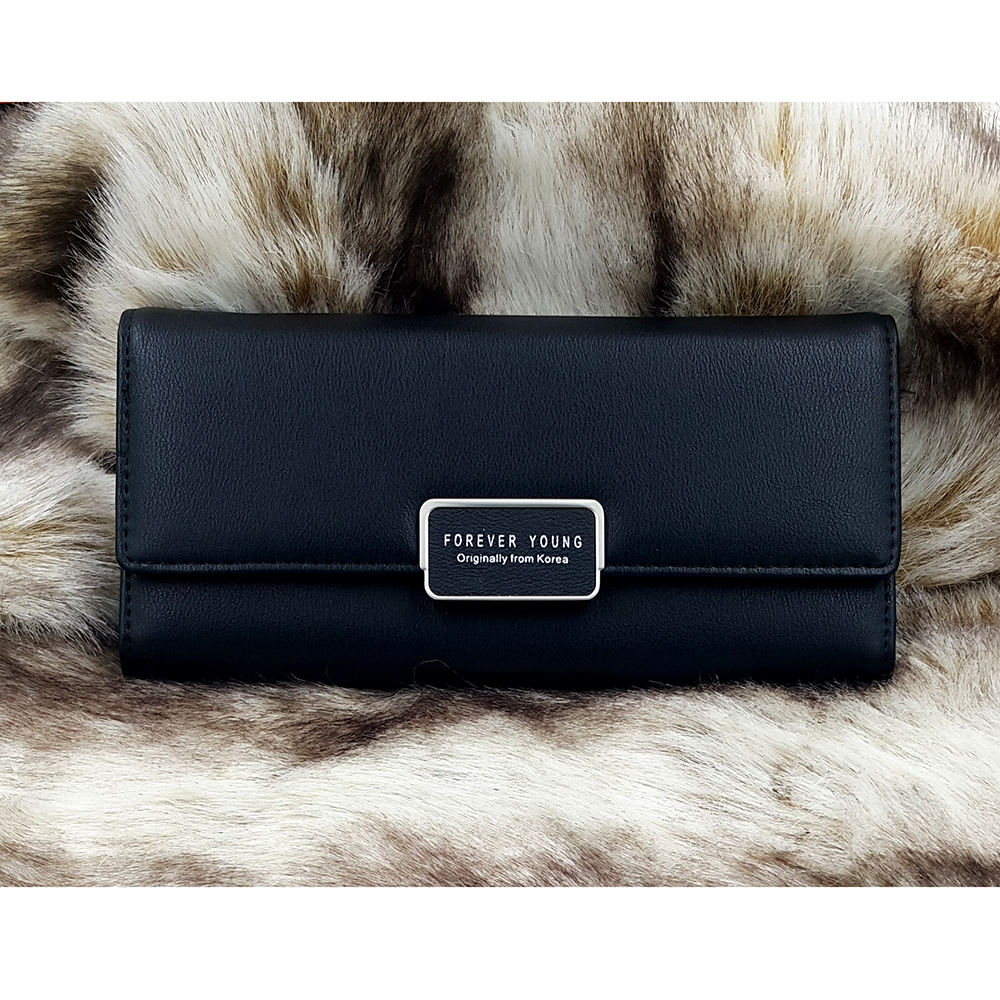 กระเป๋าสตางค์ผู้หญิง ทรงยาว รุ่น Weichen Forever Young SQ สีดำ ส่งพร้อมกล่อง