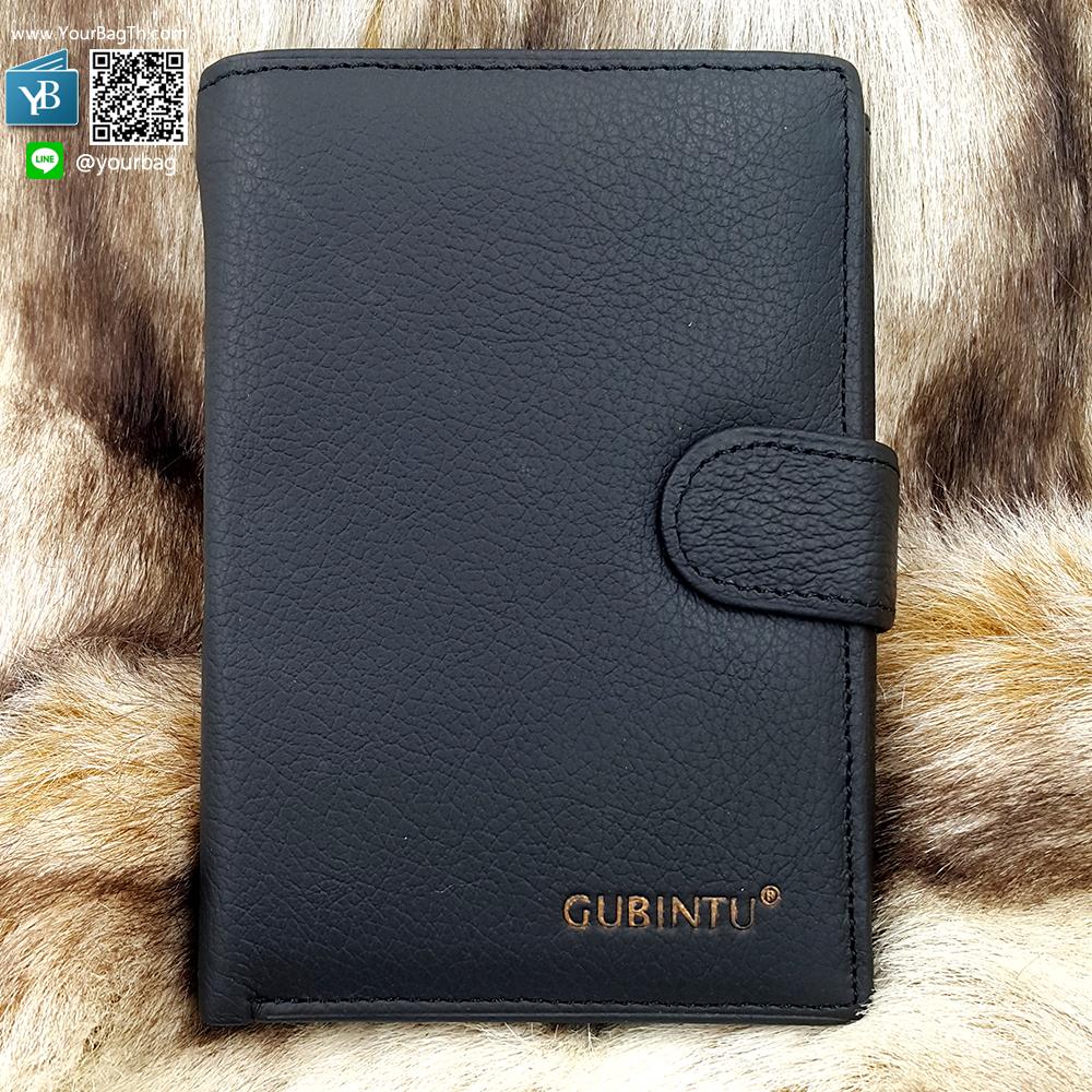 กระเป๋าสตางค์หนังแท้ ผู้ชาย ทรงตั้ง รุ่น GUBINTU Button Black สีดำ