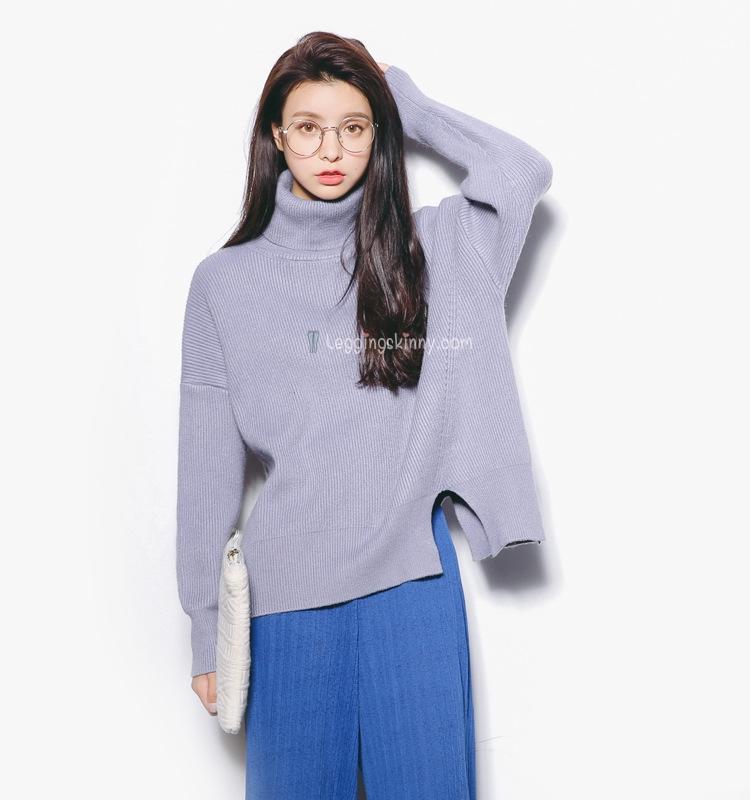 EAL เสื้อไหมพรมกันหนาว แบบคอเต่าญี่ปุ่น ทรงโคร่ง