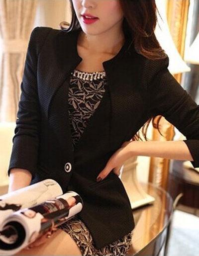 เสื้อสูทผู้หญิงสีดำใส่ทำงานเข้ารูป สไตล์เรียบหรู มี 5 ไซส์ S/M/L/XL/2XLรหัส 1810