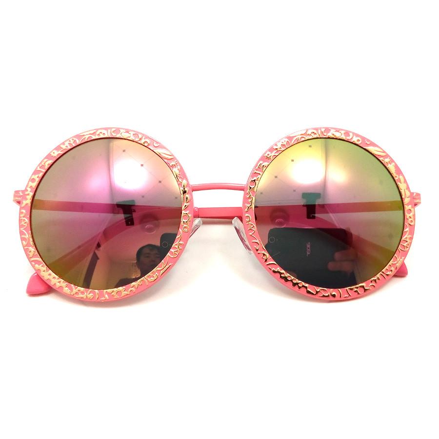 แว่นกันแดด แฟชั่น ทรงกลม กรอบสีชมพู เลนส์ปรอทสีออกชมพู รุ่น LUXY Pink