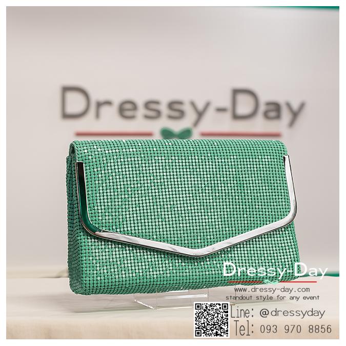 กระเป๋าออกงาน TE038 : กระเป๋าออกงาน พร้อมส่ง สีเขียวมิ้นท์ ขอบเงิน สวยแบบเรียบหรู ใช้สะพายออกงานเช้า กลางวัน หรือถือไปงานกลางคืน สวยหรู ดูดีสุดๆ