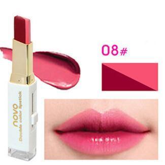 NOVO Double Color Lipstick Moisturizing Gradient Lipstick #08 Blossom ลิปทูโทน เทรนด์ทาปากไล่สีแบบสาวเกาหลี ลิปสติกนวัตกรรมใหม่ที่ดีกว่าด้วย 2 สี และ 2 เนื้อสัมผัส ที่ไม่ใช่แค่จะทาริมฝีปากให้ดูมี มิติเพียงอย่างเดียว แต่ยังสามารถช่วยให้ริมฝีปากหนาและดูบางล