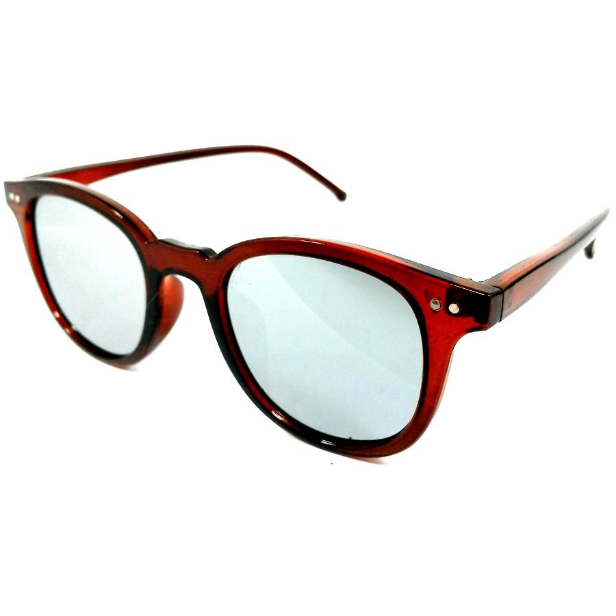 แว่นกันแดดแนวเรโทร สีน้ำ เลนส์ปรอทเงิน