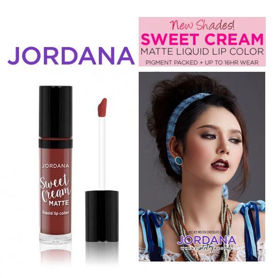 Jordana Sweet Cream Matte Liquid Lip Color 21 Molten Chocolate Cake คอลเล็คชั่นสวีทครีมแมทสีขายดีและสีใหม่ 6 สีจากจอร์ดาน่า ที่ได้รับแรงบันดาลใจมาจาก Belle from Beauty and The Beast ที่ไม่ใช่แค่สวย แต่สวยมาก เนื้อแมท ติดทน สีชัด มีส่วนผสมของ vitamin A & C
