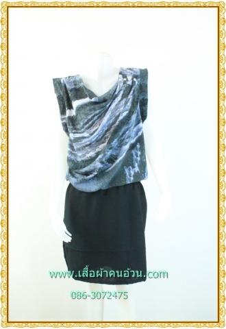 1992ชุดทํางาน เสื้อผ้าคนอ้วนดีไซน์งานการ่าระดับเฟริ์ทคลาส ผ้าหางกระรอกเนื้อนิ่ม คอถ่วงย้วยไล่ระดับแนวเฉลียง กระดุมเพชร