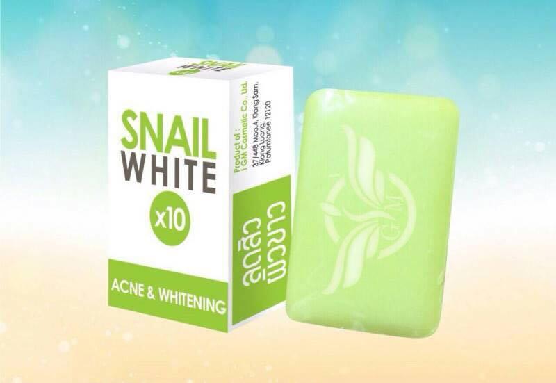 SNAIL WHITE x10 ACNE & WHITENING สบู่หอยทาก สแนลไวท์สีเขียว สูตรลดสิว ผิวขาว