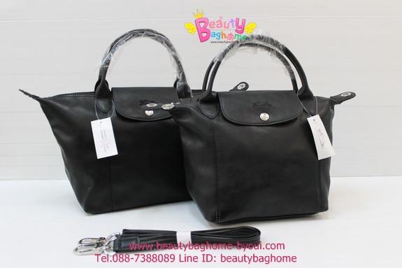 Longchamp Le Pliage Cuir สีดำ รุ่นหนังด้าน