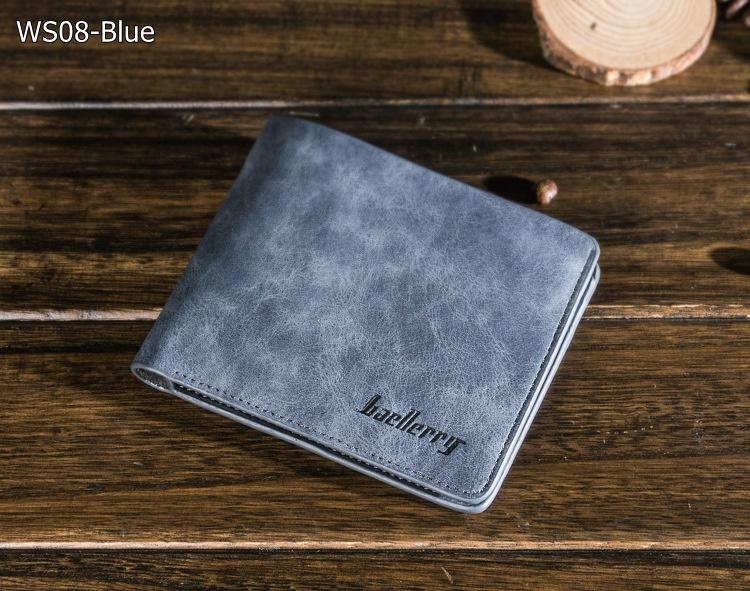 ( ลดล้างสต๊อค ) WS08-Blue กระเป๋าสตางค์ใบสั้น แนวนอน กระเป๋าสตางค์ผู้ชาย หนัง PU เกรดเอ สีน้ำเงิน