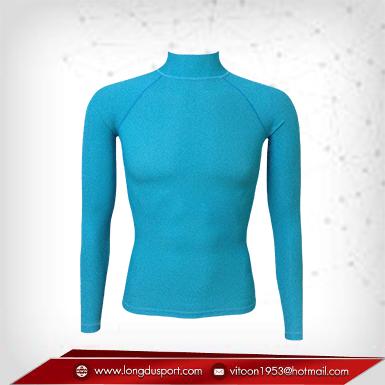 เสื้อรัดรูป Body Fit แขนยาวคอตั้ง สีฟ้า mediumturquoise