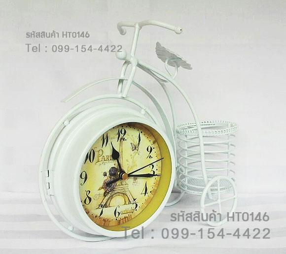 นาฬิกาตั้งโต๊ะสองหน้า สไตล์วินเทจ รูปทรงจักรยานสีขาว มีตะกร้าด้านหลัง