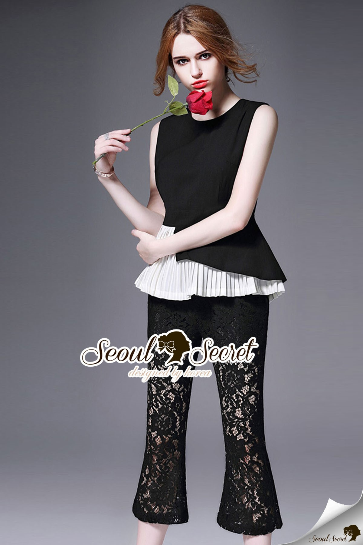 Seoul Secret Say's... Nifty Nite Laura Black Lace Pleat set