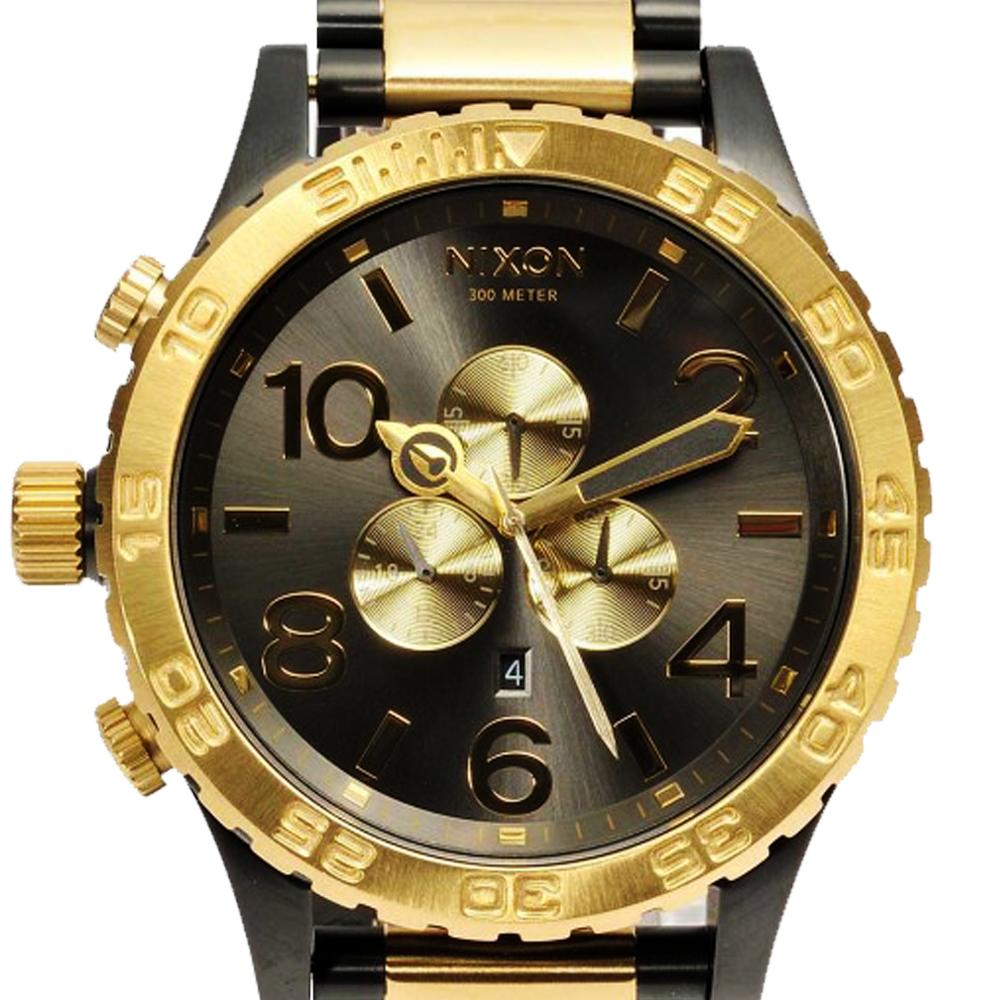 นาฬิกา NIXON Men Chronograph Chronograph Black Gold Dails Watch A083595 48-20