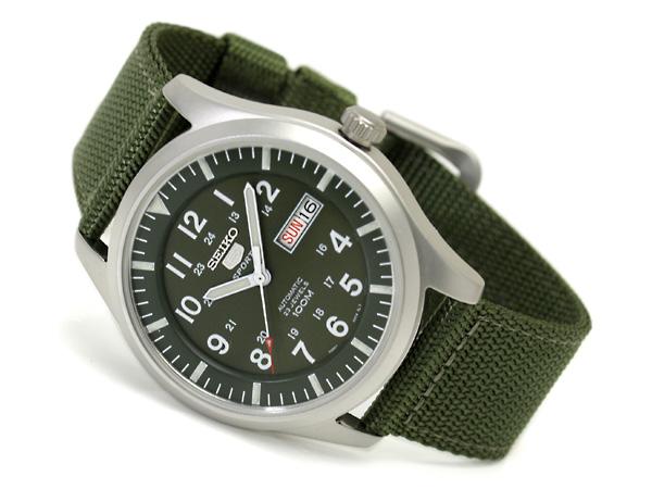 Seiko 5 Sport Mens Automatic Military 100M Green Strap SNZG09