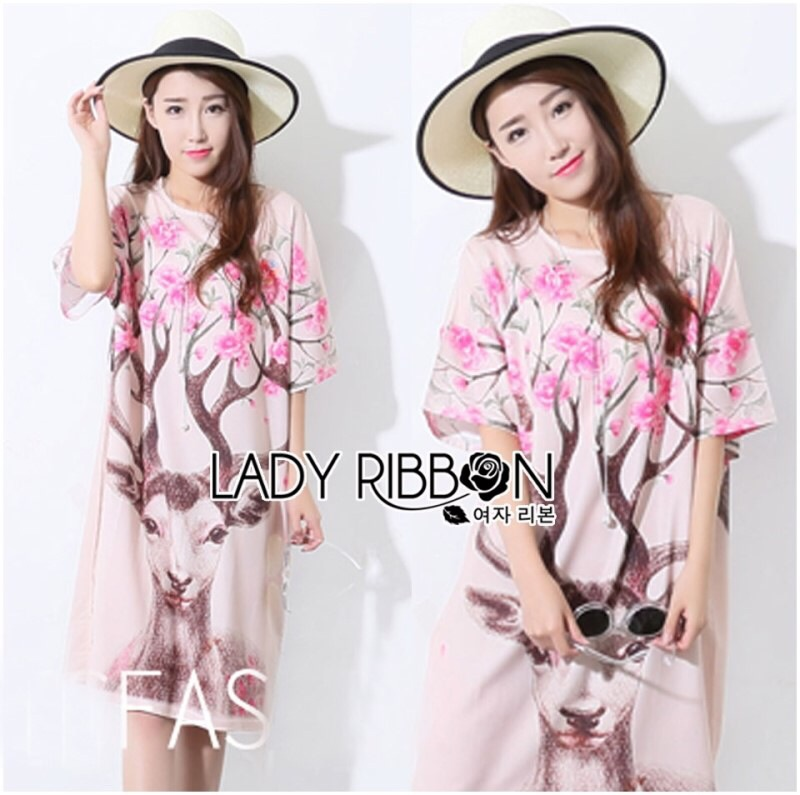 Lady Ribbon's Made Lady Lizzy Sweet Pretty Flower Reindeer Printed Dress